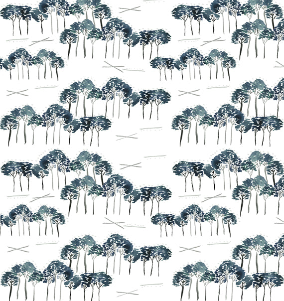 Grayton Trees Navy Print