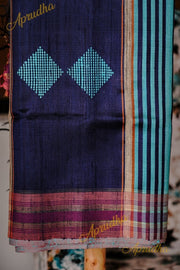 Sky Blue Black Silk Saree