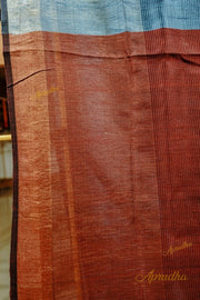 Steel Blue Silk Saree with zari border and contrast rust orange pallu