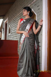 Temptation grey silk cotton saree with silver border
