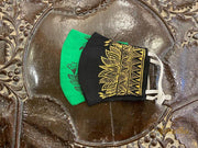 Green & Black - Set Of Two Non Surgical Cotton Madhubani Hand-Painted Mask - Aprudha
