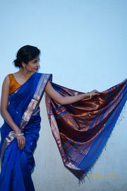 Princess Blue Silk Cotton Saree - Aprudha