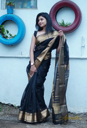 Black & Gold Silk Cotton Saree