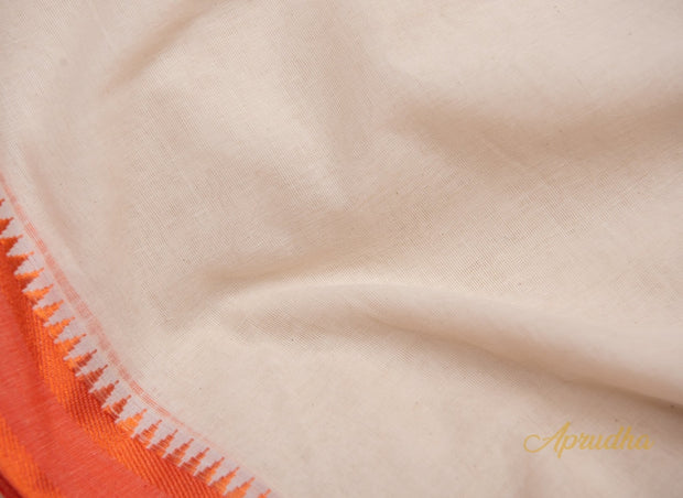 White Soft Khadi Cotton Saree