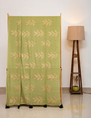 Mehendi Green and Gold Hand Block Printed Mul Cotton Saree