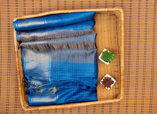 Royal Blue Kosa Silk Square Patterned Saree