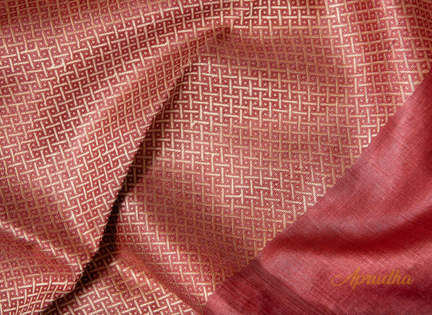 Blush Red Kosa Pattu Saree