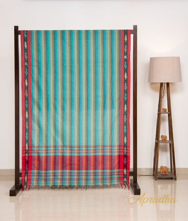 Blue Striped Pure Cotton Saree