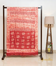 Red & Beige Shibori Batik Silk Saree