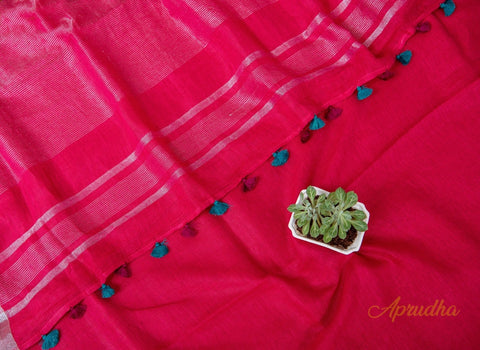 Cardinal Red Linen Saree