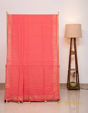 Imperial Red and Gold Hand Block Printed Mul Cotton Saree