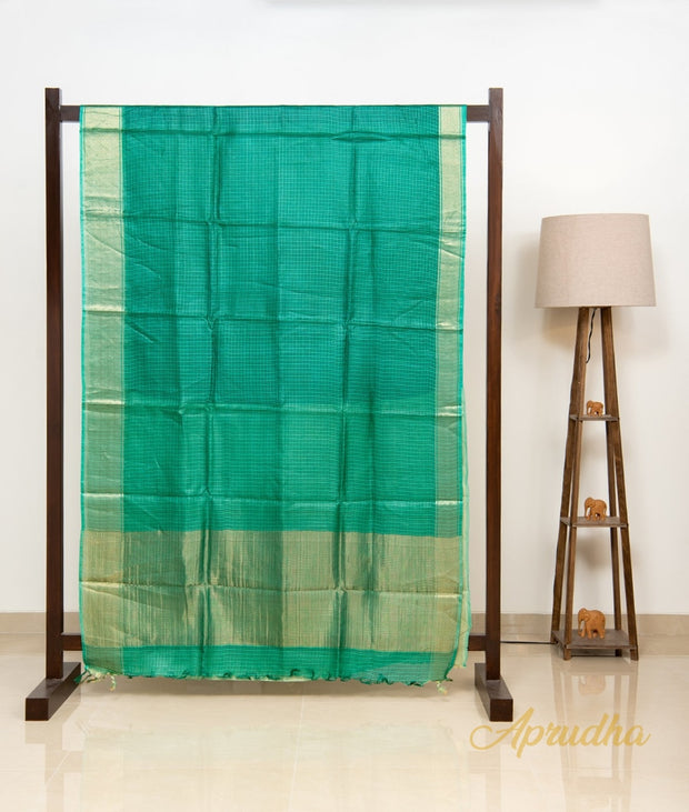 Green Kosa Silk Square Patterned Saree