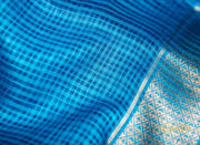 Blue Kosa Silk Square Patterned Saree