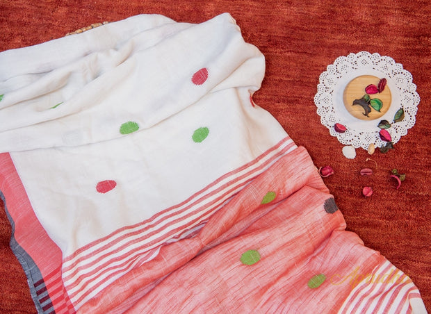 White and Red Polka Cotton Saree