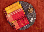 Vibrant Red & Yellow Silk Saree