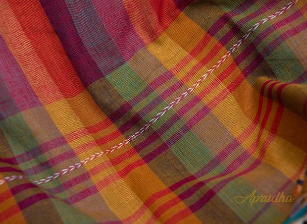 Yellow & Olive Green Striped Pure Cotton Saree - Aprudha
