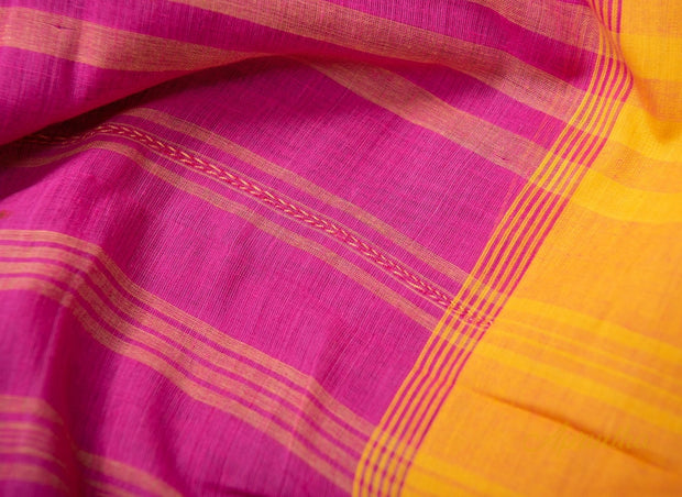 Pink & Yellow Pure Cotton Saree - Aprudha