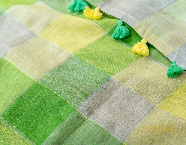 Pastel Green and Yellow Checkered Linen Saree - Aprudha