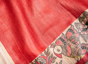 Peacock In The Garden - Red Madhubani Handpainted Ghicha Silk Saree