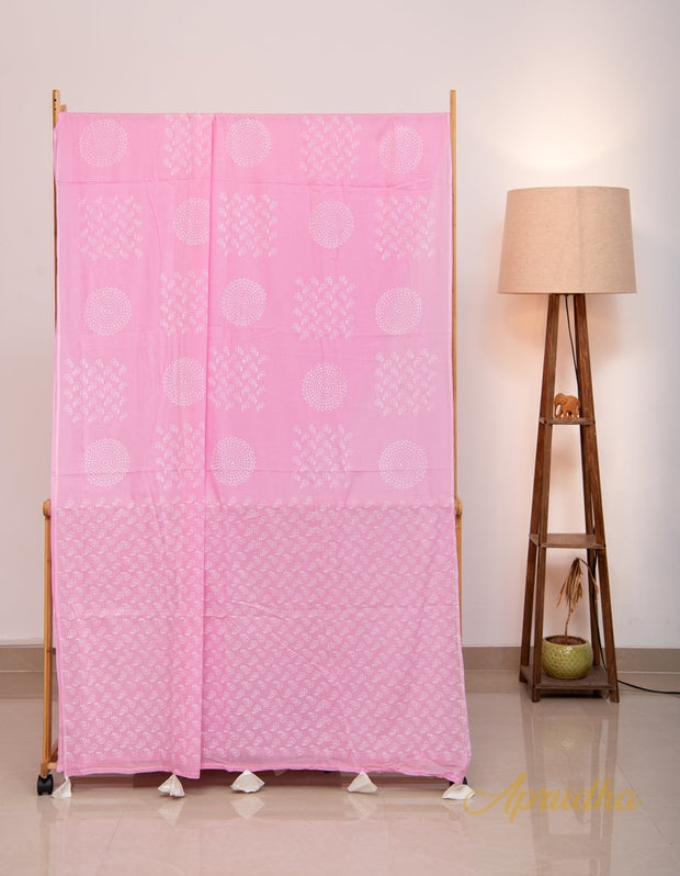 Pink and White Hand block Printed Mul Cotton Saree
