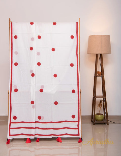 White and Red Polka Hand Block Printed Mul Cotton Saree