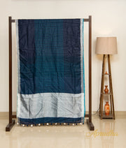 Moonlight Ocean - Dark Blue Checkered Linen Saree - Aprudha