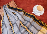 Grey Yellow Striped cotton saree