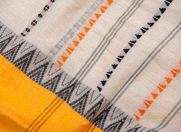 White Pure Cotton Saree With Yellow Border