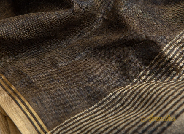 Otter Brown Linen Saree - Aprudha