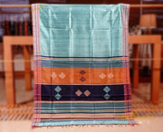 Cadet Blue silk saree with striped border and woven contrast black pallu