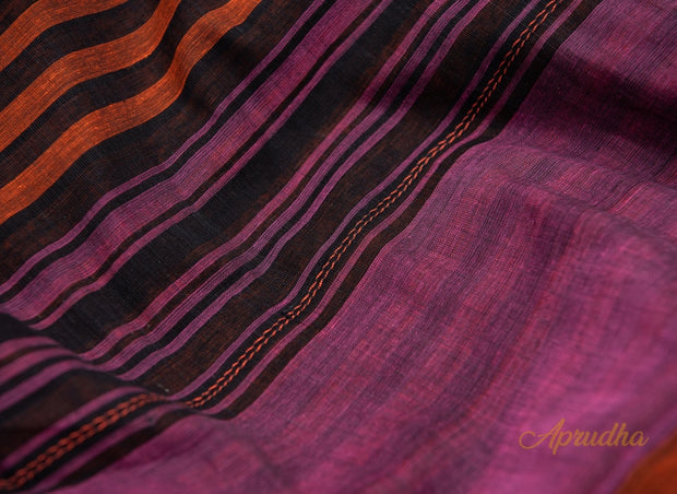 Black & Orange Striped Pure Cotton Saree