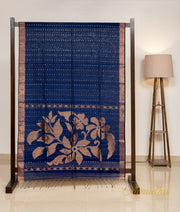 Regal Blue Fine Muslin Jamdani Saree