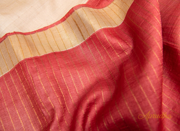 Chaenomeles - Beige Floral Hand-Painted Kosa Silk Saree