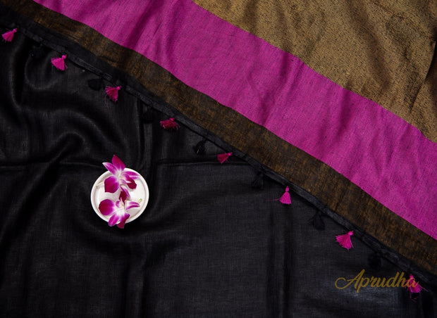 Black & Deep Pink Linen Saree