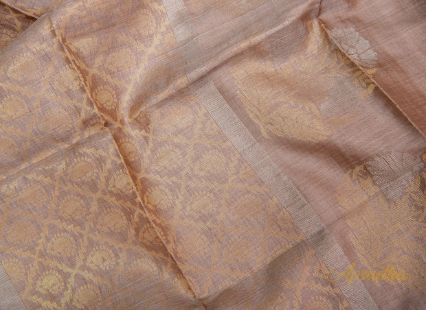 Floriated Beige Kosa Pattu saree