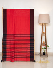 Red & Black Soft Khadi Cotton Saree