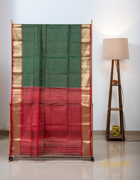 Forest Green and Red Silk Cotton Saree