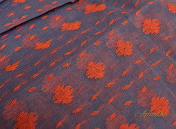 Grey & Orange Pure Jamdani Saree