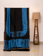 Deep Blue and Black Shibori Chanderi Saree