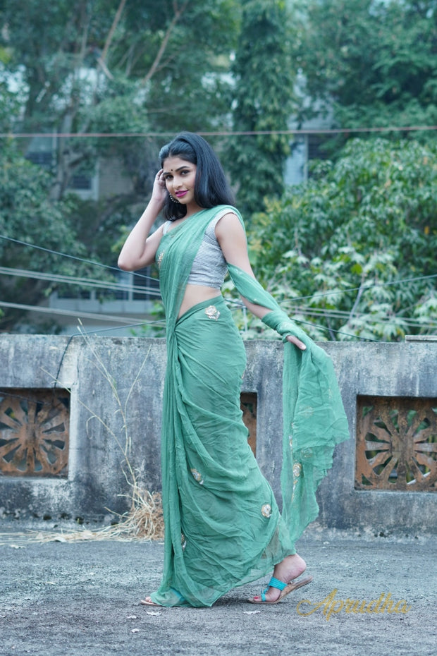 Elm Green Embroidered Chiffon Saree