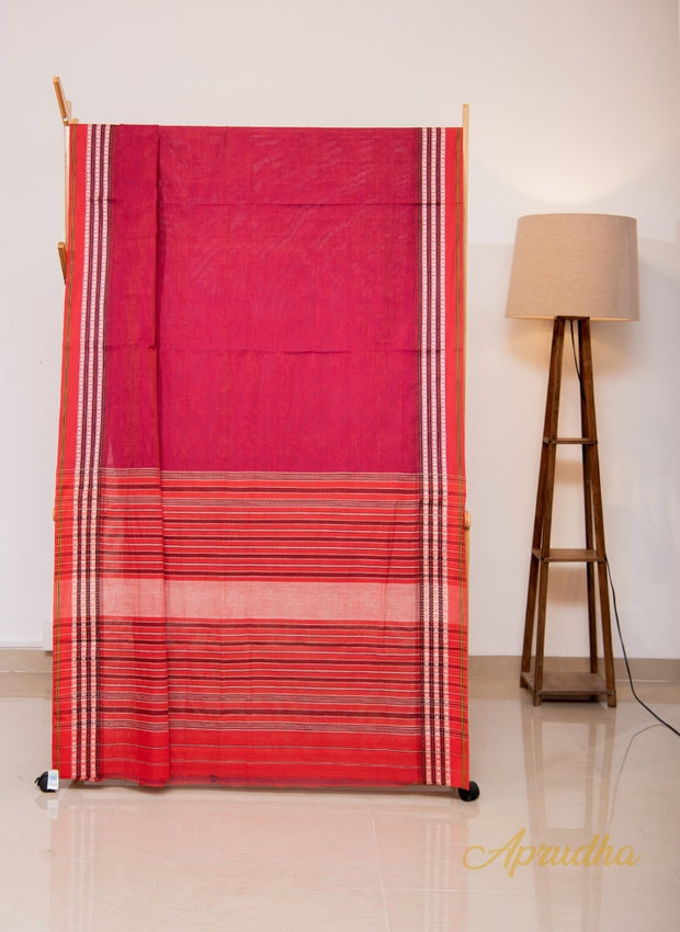 Deep Red Pure Cotton Saree