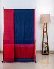 Space Blue And Red Linen Saree - Aprudha