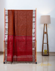 Rust Red Silk Cotton Saree