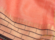 Peach Linen Saree With Brick border