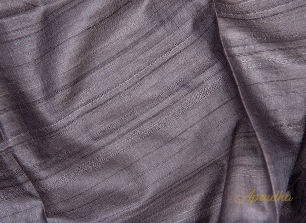 Porpoise Grey Tussar Silk Saree