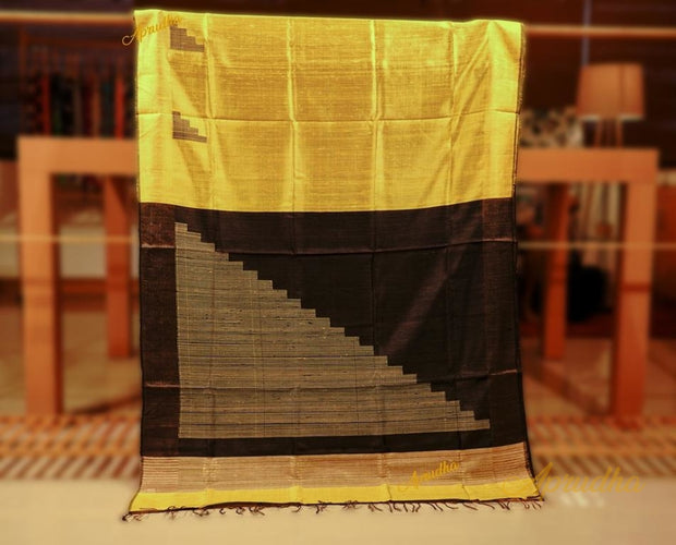 Yellow Black Staircase Pattern Silk Saree