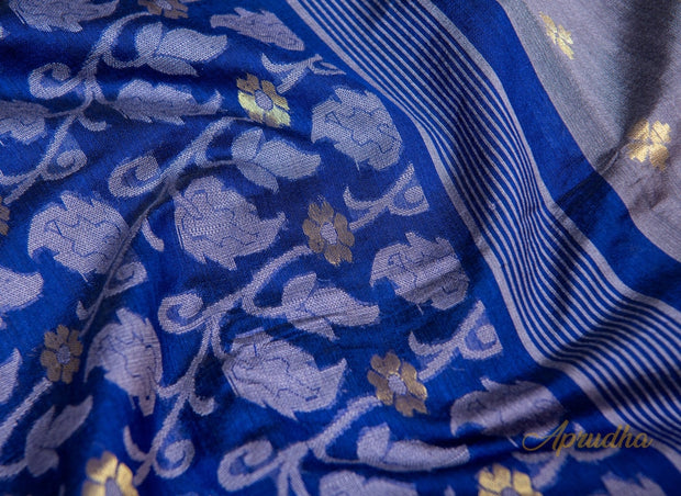 Slate Grey & Blue Jamdani Saree - Aprudha