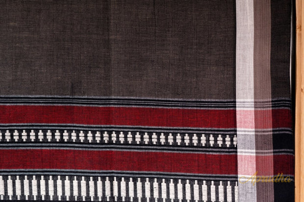 Grey Maroon Striped Pallu Pure Cotton Saree
