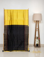 Yellow Black Staircase Patterned Silk Saree