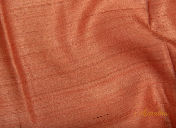 Sun Baked Peach Tussar Silk Saree